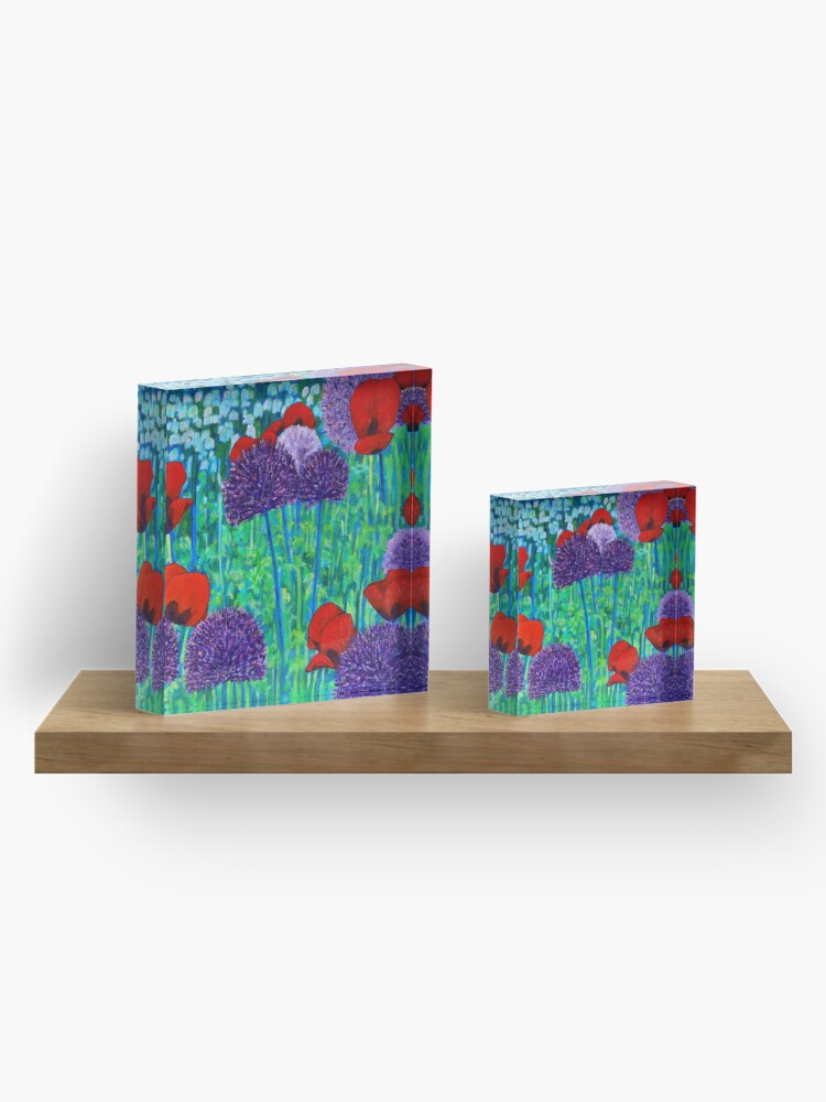 Alternate view of Poppies and alliums Acrylic Block