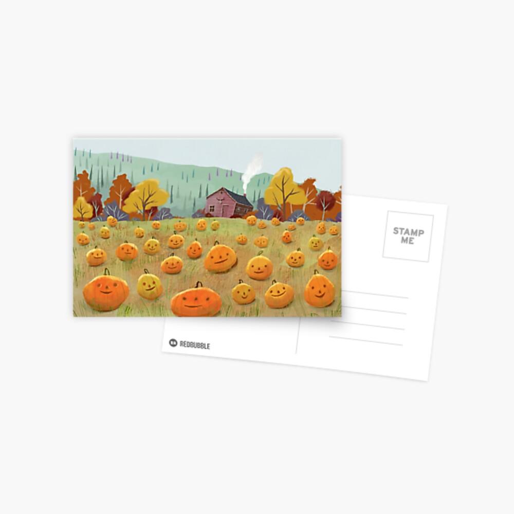 Happy Pumpkin Field Postcard