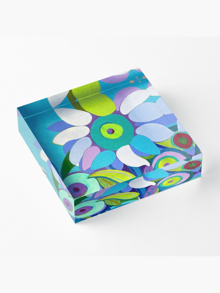 Alternate view of Blue sunflower Acrylic Block