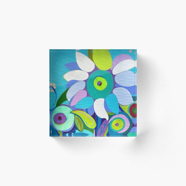 Blue sunflower Acrylic Block