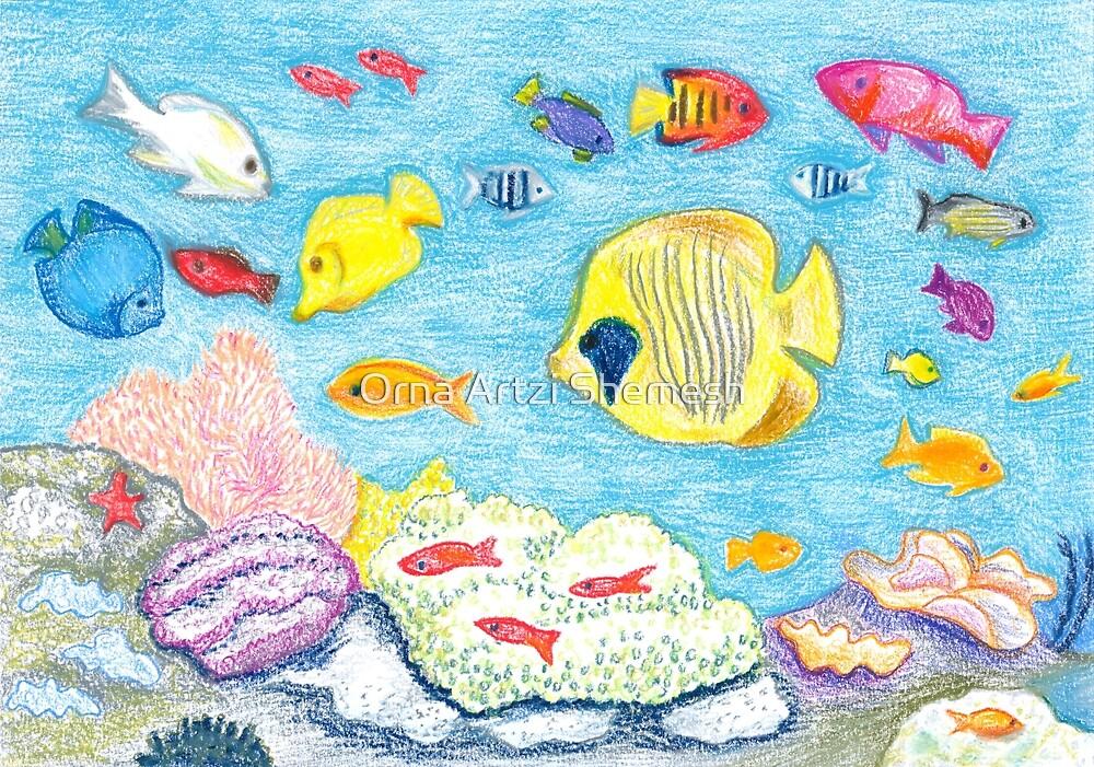 Crayon Fish by Orna Artzi Shemesh