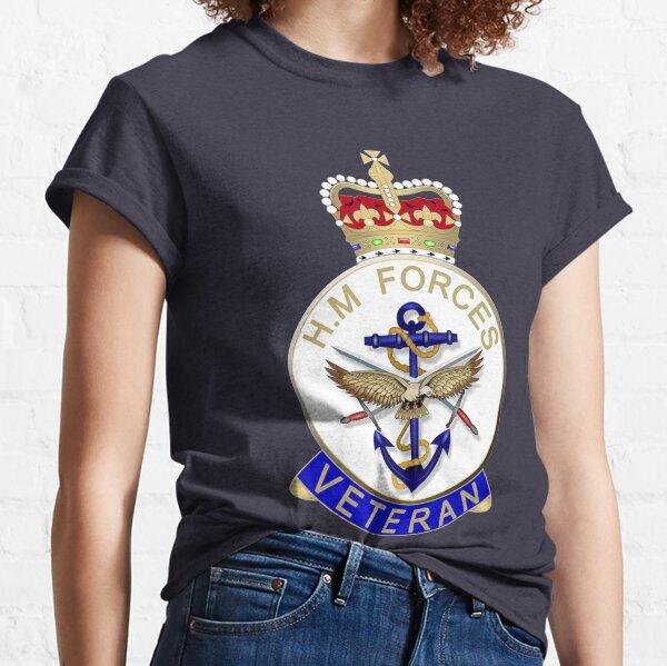 HM FORCES VETERAN BADGE. BRITISH VETERAN. On Navy Blue. Classic T-Shirt