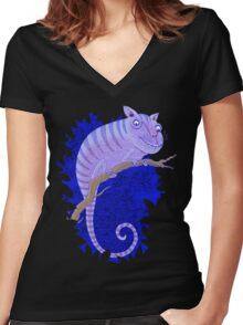 Cheshire Cat Chameleon Women's Fitted V-Neck T-Shirt