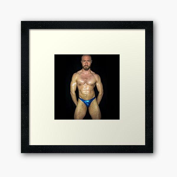 Blue Metallic Thong Framed Art Print