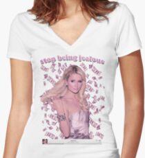 Paris Hilton 'Stop Being Jealous' Art v.2 Fitted V-Neck T-Shirt