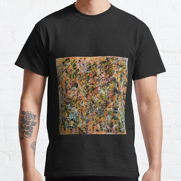 Modern Art, abstract, neon, orange, black, withe Classic T-Shirt