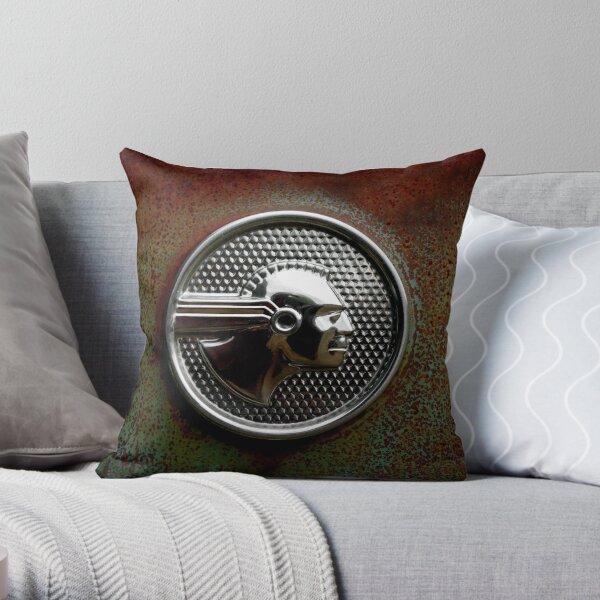 Abandoned 1952 Pontiac Chieftain Emblem Throw Pillow