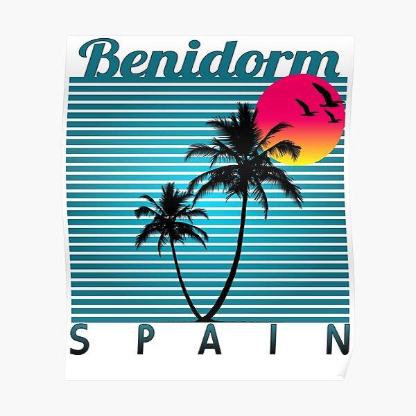 Benidorm Spain Summer  Beach  Sun  Vacations Souvenir tshirt Póster