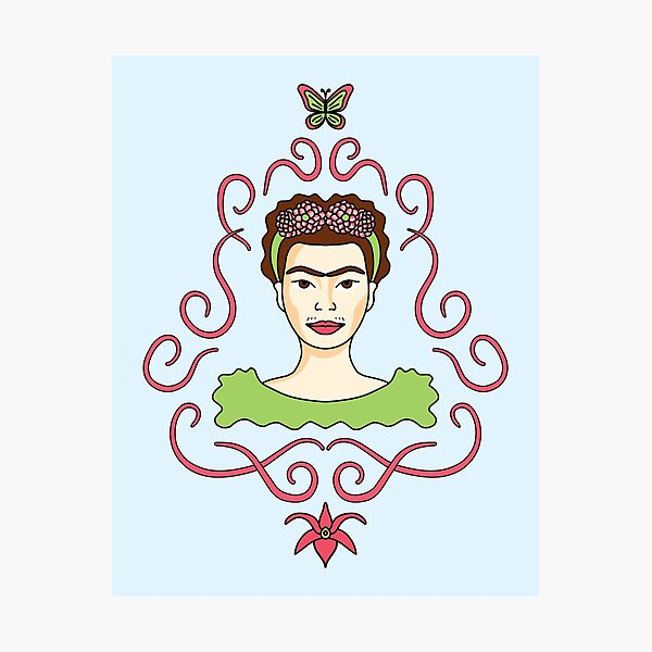 Cute Cartoon Frida Kahlo portrait with butterfly and orchid - pink and green in blue background Photographic Print