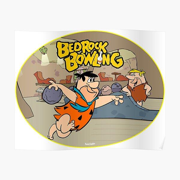Flintstone Bedrock Bowling Poster