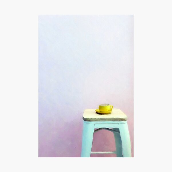 Coffee waiting patiently on a stool Photographic Print