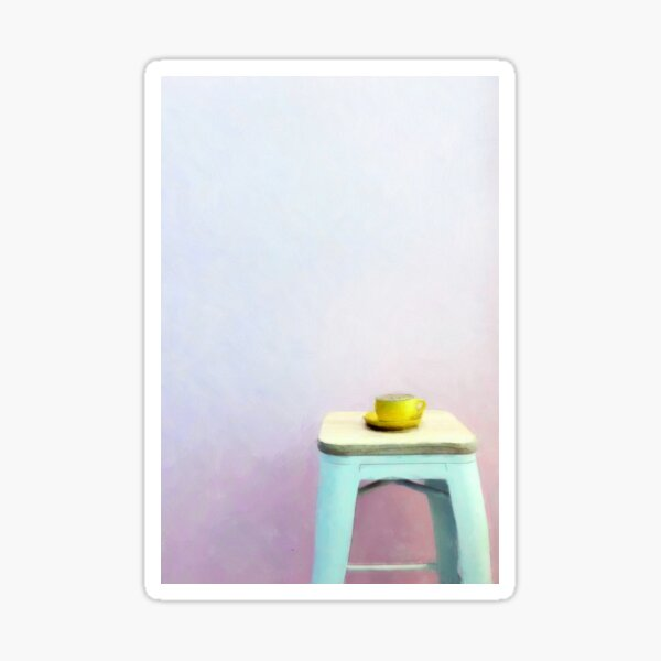 Coffee waiting patiently on a stool Sticker
