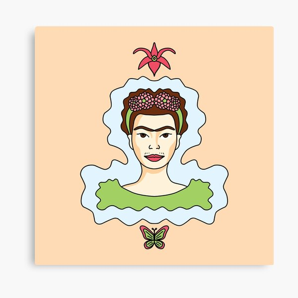 Cute Cartoon Frida Kahlo portrait with butterfly and orchid - pink and green in orange background Canvas Print