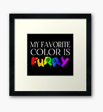 My Favorite Color Is... (Furry) in Rainbow Framed Print