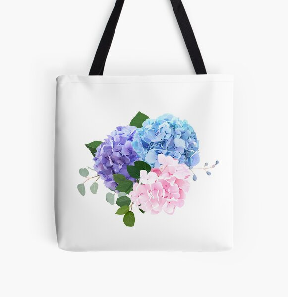 Blue, pink and purple hydrangea, orchid, rose, white chrysanthemum,  All Over Print Tote Bag