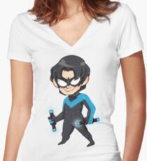 DC Comics || Dick Grayson/Nightwing Women's Fitted V-Neck T-Shirt