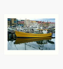 Yello Boat in moorings: Hobart Tasmania Art Print