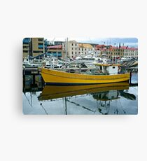 Yello Boat in moorings: Hobart Tasmania Canvas Print