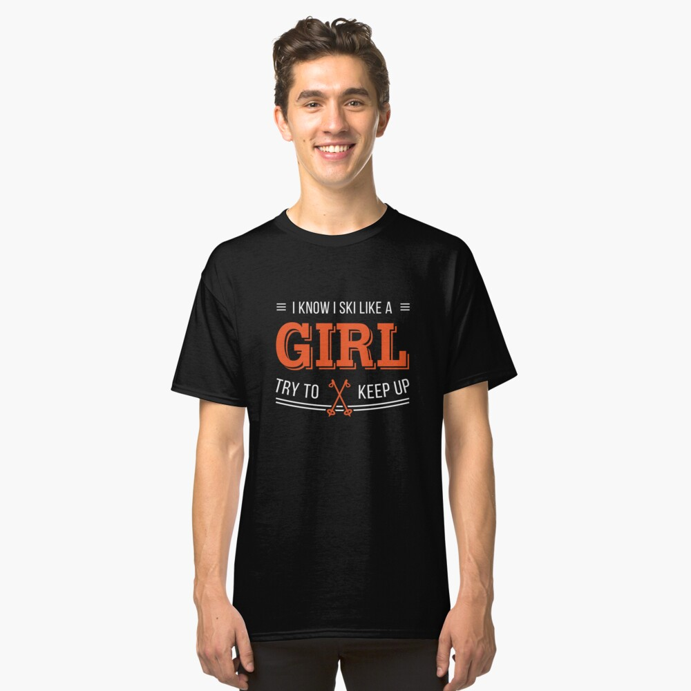 Ladies Printed T-Shirt Casual Crew Neck Tee for Skiing Womens I Ski Like a Girl