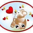 Teddy with hearts and bees  by schtroumpf2510