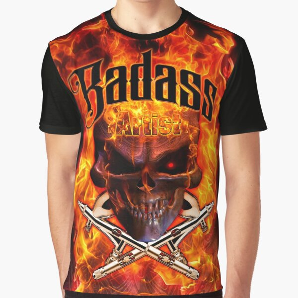 Badass Airbrush Artist - Flames by OrganicBeej Graphic T-Shirt