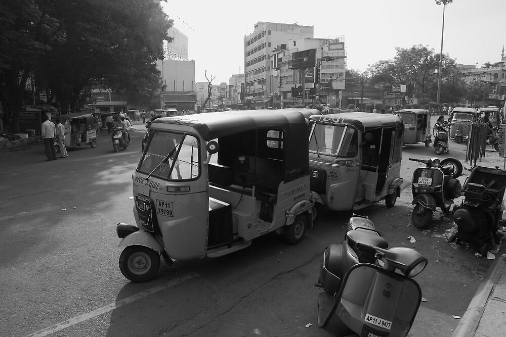 Auto Rickshaws Hyderabad by Andrew  Makowiecki