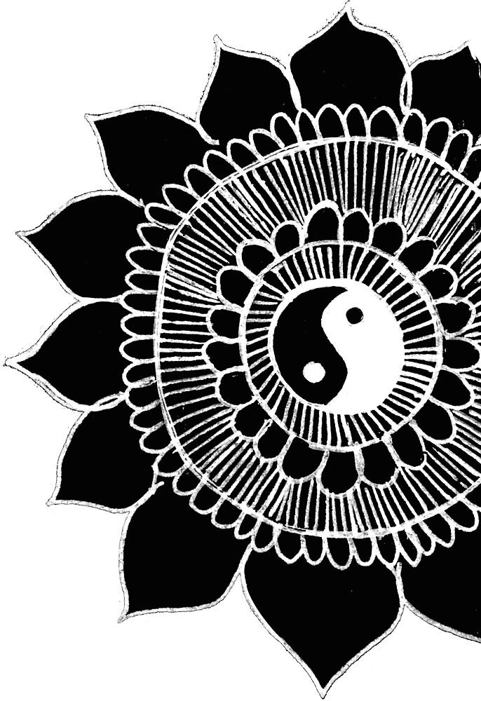 yin yang mandala by ayseart-un