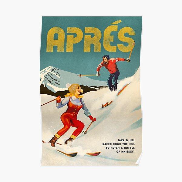 """""""Apres"""" Vintage Ski Pinup Art Poster"""