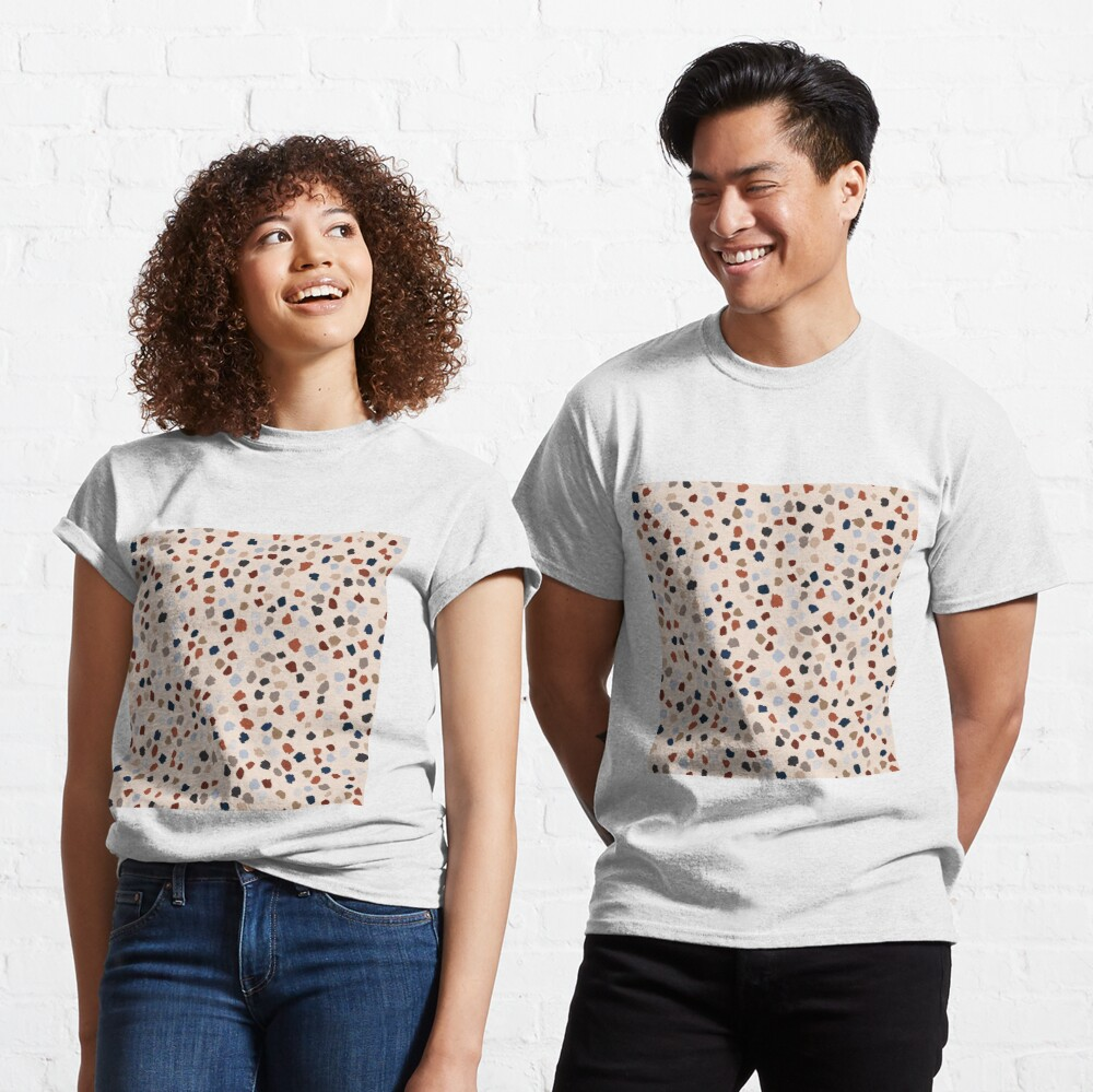 Terrazzo Rust, Blue and Gray Stone pattern Classic T-Shirt