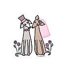 Greyhound Wedding Couple - pink by zoel
