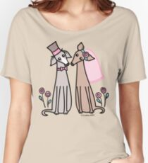 Greyhound Wedding Couple - pink Women's Relaxed Fit T-Shirt