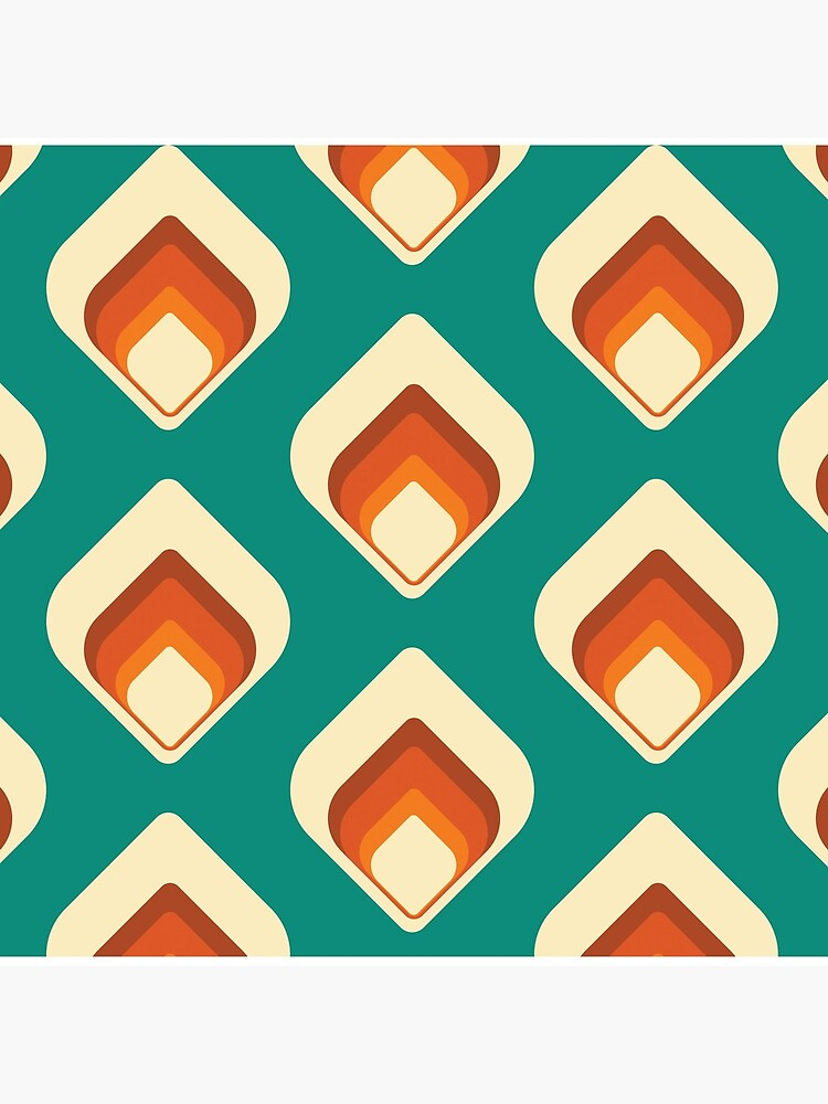 Mid-Century Modern Teal and Cream Tear Drop by MonstersMashU