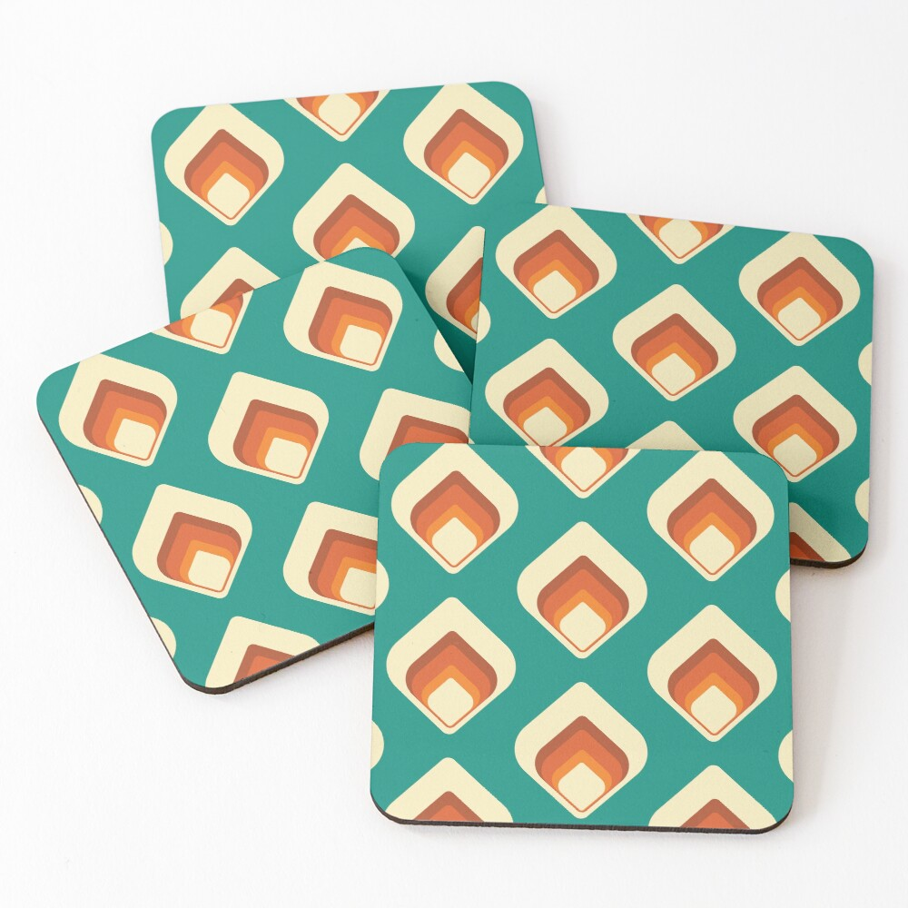 Mid-Century Modern Teal and Cream Tear Drop Coasters (Set of 4)