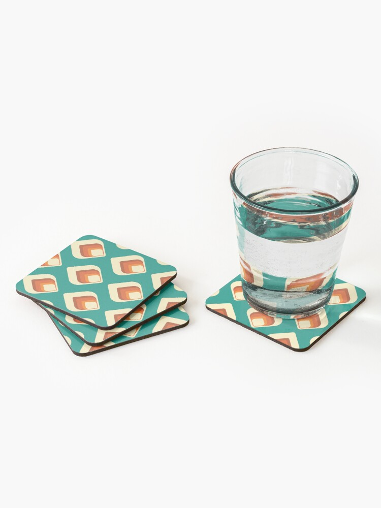 Alternate view of Mid-Century Modern Teal and Cream Tear Drop Coasters (Set of 4)