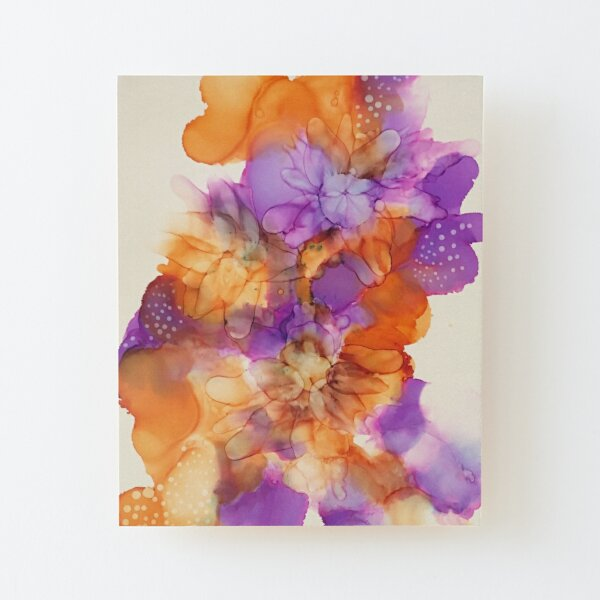 Tower of Flowers Alcohol Ink Wood Mounted Print