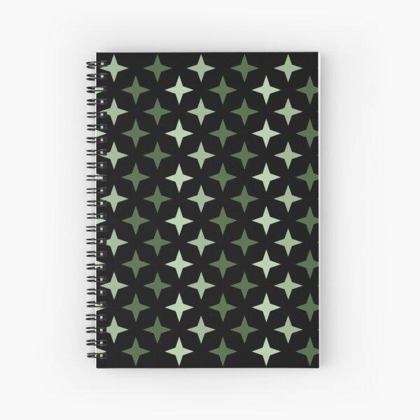 Motif militaire étoile vert sur fond noir, composition motif étoile Cahier à spirale