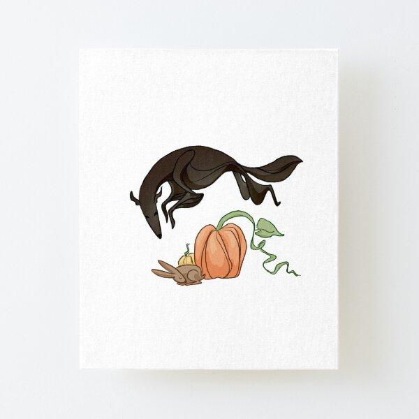 Black Borzoi Leaping Over Pumpkin Canvas Mounted Print