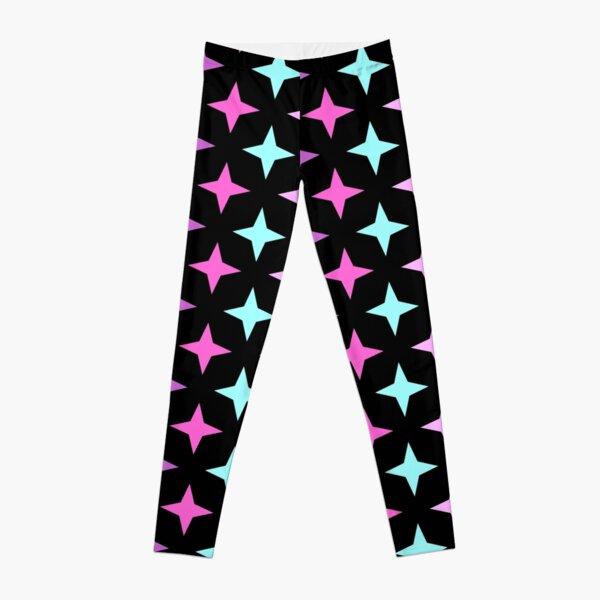 Motif ensemble étoile rose, mauve, bleu sur fond noir Legging