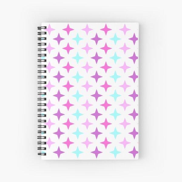 Motif étoile rose, mauve, bleu sur fond blanc, composition motif étoile Cahier à spirale