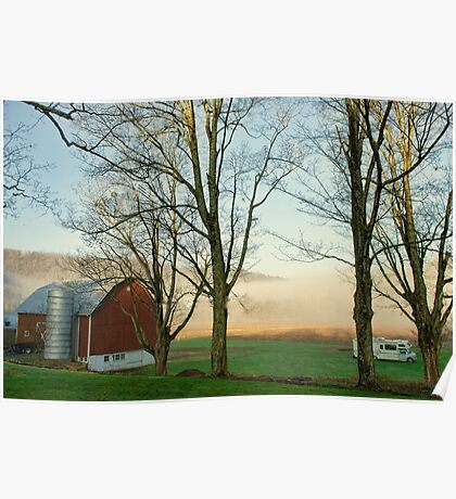 Foggy morning in the valley Poster