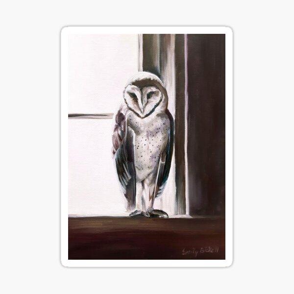 Purple Barn Owl painting Sticker