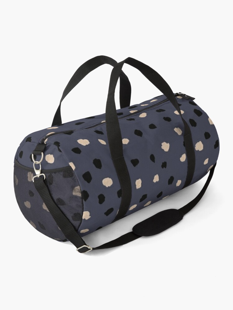 Alternate view of Dalmatian Dots Neutral Pattern on Inkwell Blue Duffle Bag