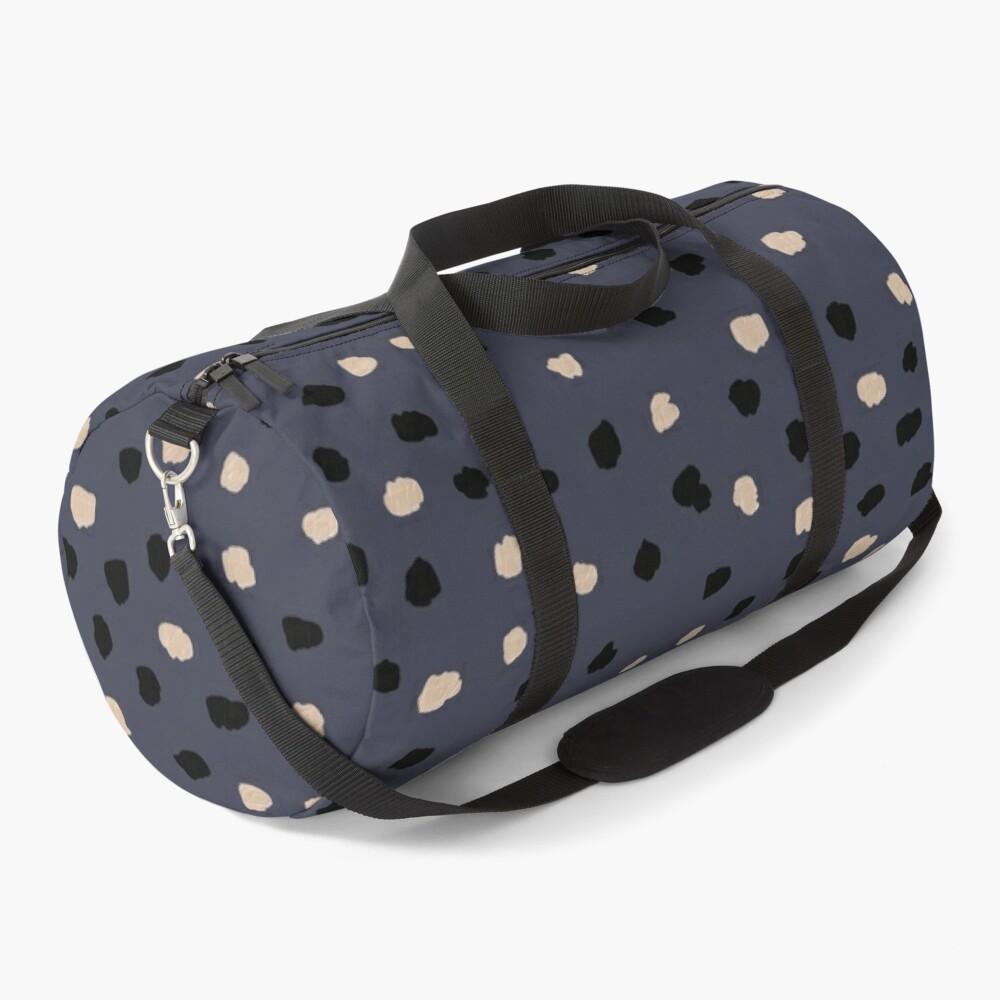 Dalmatian Dots Neutral Pattern on Inkwell Blue Duffle Bag