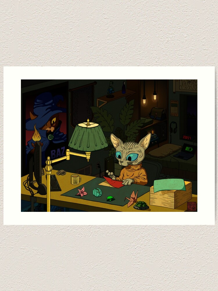 Alternate view of Sphynx Kitty Origami Art Print