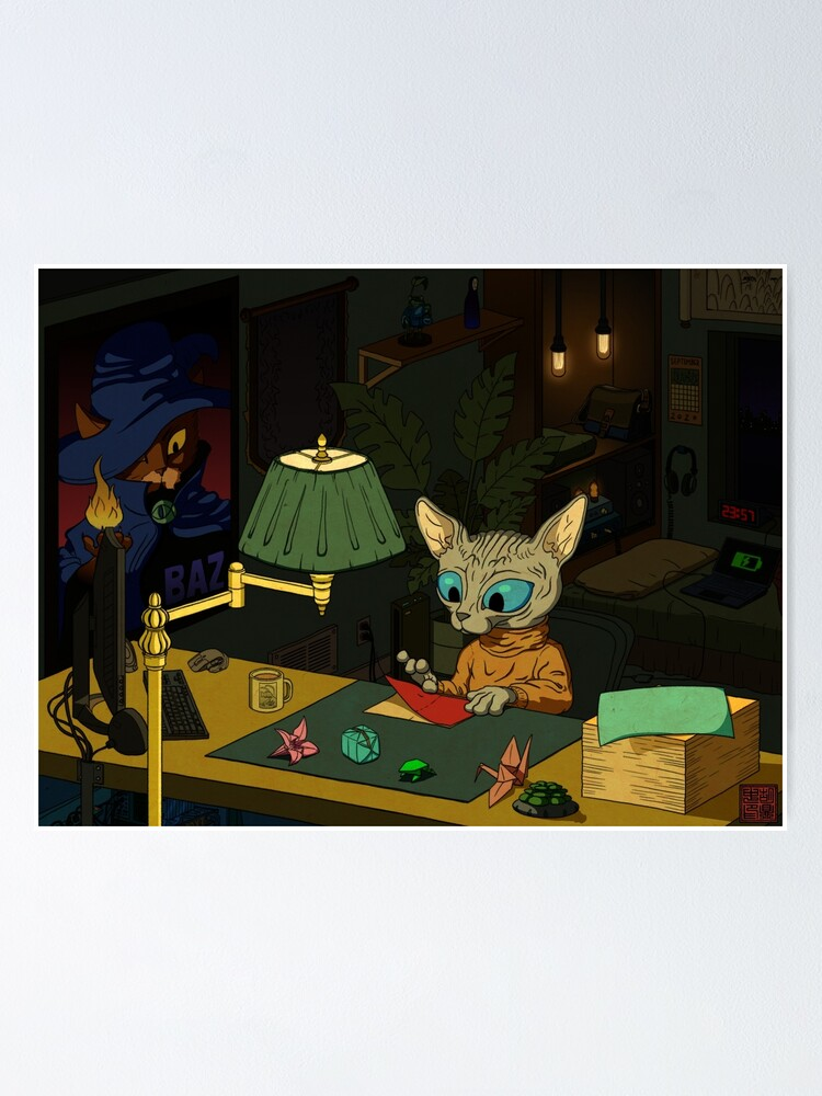 Alternate view of Sphynx Kitty Origami Poster