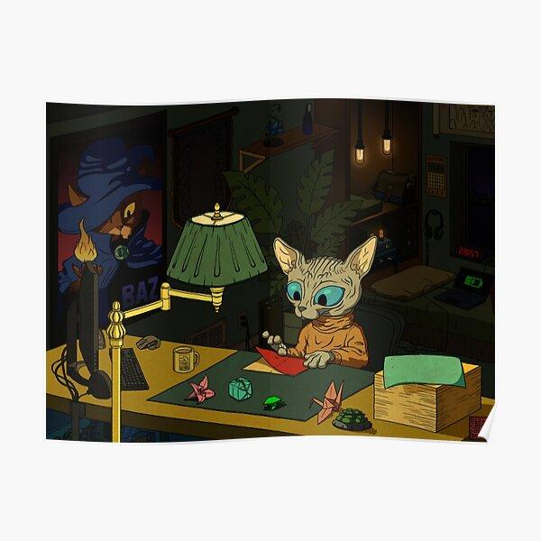 Sphynx Kitty Origami Poster