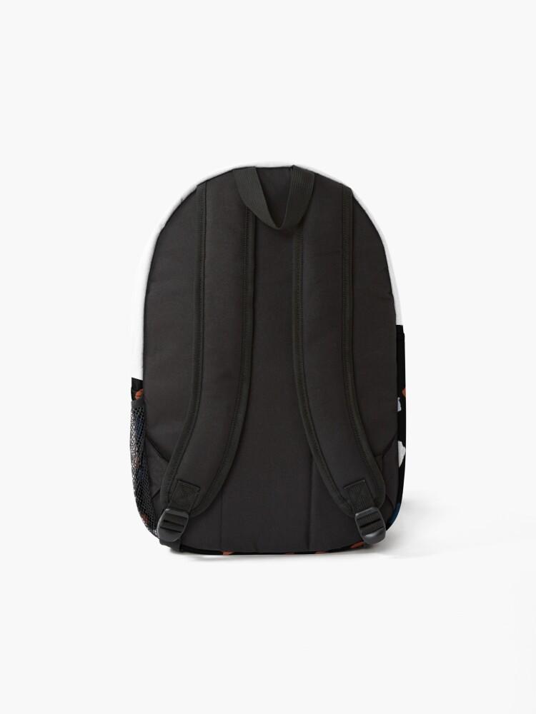 Alternate view of Terrazzo Rust & Blue Print on Black Backpack