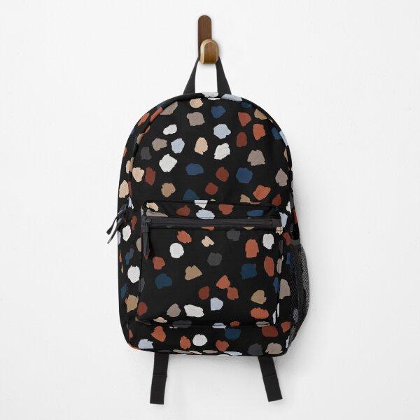 Terrazzo Rust & Blue Print on Black Backpack