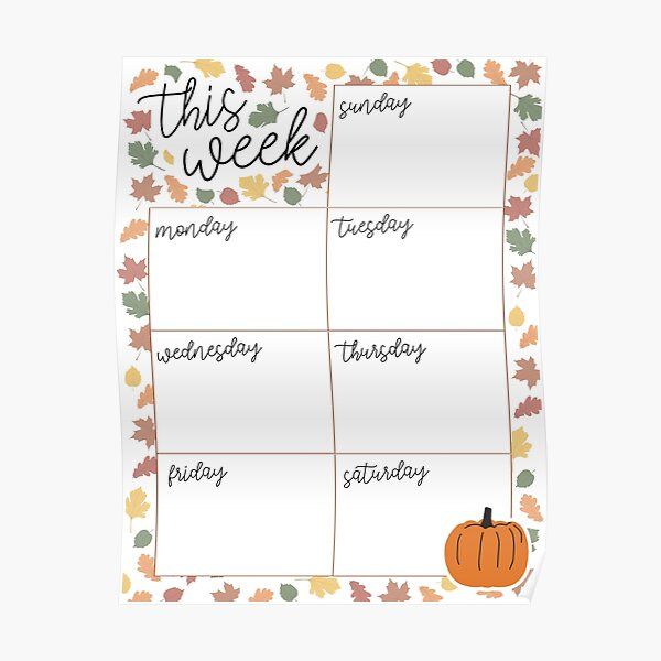 Fall Weekly Planner Page Wall Calendar Poster