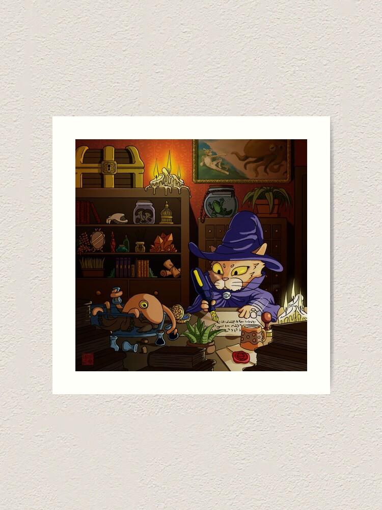 Alternate view of Baz the Cat Wizard Art Print